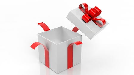 gift ribbon: Open empty gift box with red ribbon isolated on white background