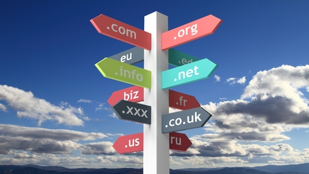 edu: Signpost with domain names with blue skybackground Stock Photo