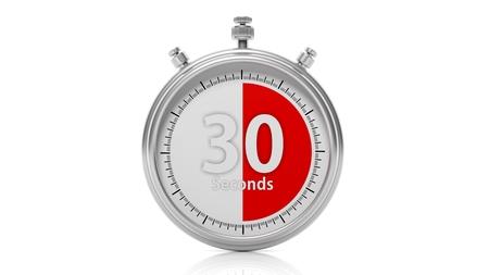 chronometer: Silver chronometer set on 30 seconds, isolated on white Stock Photo