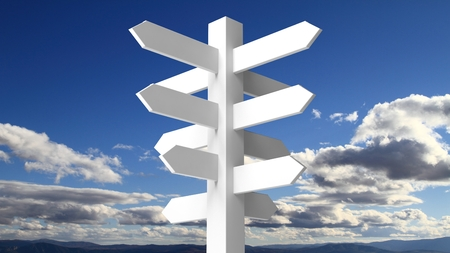 white clouds: Blank white signpost on blue sky with clouds background