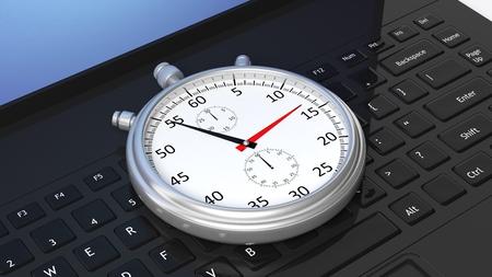 teclado de computadora: cronómetro de plata en el teclado portátil negro