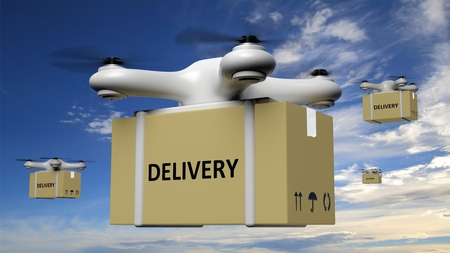 order delivery: Drones with delivery carton box on blue sky background