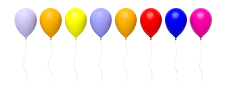 rows: Group of colorful blank balloons in a row isolated on white Stock Photo