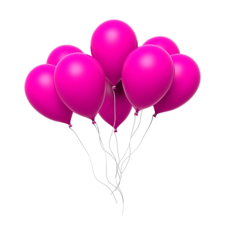 happy woman white background: Group of colorful pink blank balloons isolated on white background