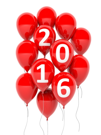 red balloons: Red balloons with 2016 text isolated on white background Stock Photo