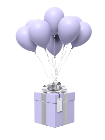blue gift box: Group of blank balloons with gift box attached isolated