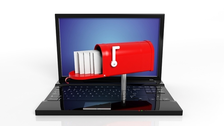 send: Red mailbox with with envelopes on black laptop keyboard isolated Stock Photo