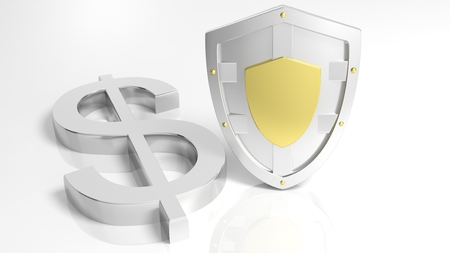 currencies: Silver shield and Dollar symbol, isolated on white background