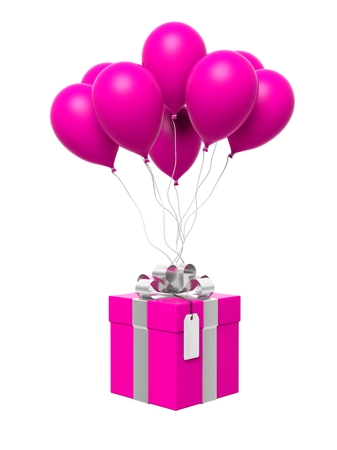 happy shopping: Group of pink blank balloons with gift box attached isolated Stock Photo