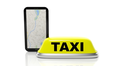 yellow roof: Yellow taxi car roof sign and tablet with gps, isolated on white background Stock Photo