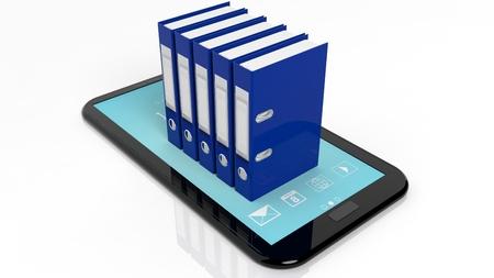 registros contables: Carpetas de la oficina con etiquetas en blanco en la pantalla de la tableta, aislados en blanco