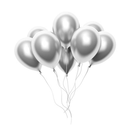anniversaire: Groupe de ballons blancs argent isolé sur fond blanc Banque d'images