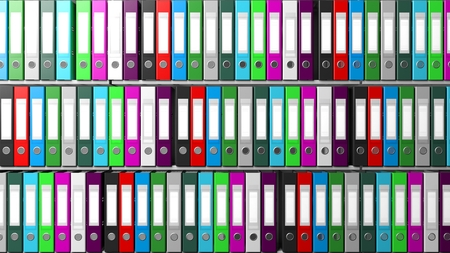registros contables: carpetas de la oficina multicolor con etiqueta en blanco en una fila en estantes
