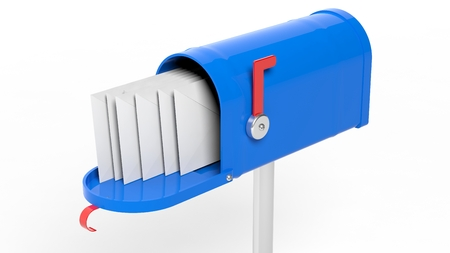metal mailbox: Blue mailbox with letters isolated on white background