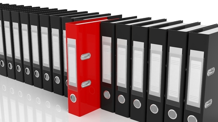 registros contables: One red office folders among black ones with blank labels isolated