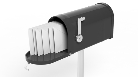 metal mailbox: Black mailbox with letters isolated on white background