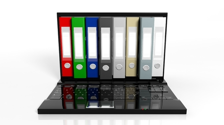 record: Office folders in a row on laptop screen, isolated on white