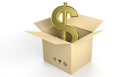 signo pesos: Muestra de dólar de oro en caja de cartón abierta, aislado en fondo blanco Foto de archivo