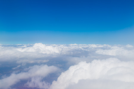 sky cloud: Blue sky with white clouds, aerial photography