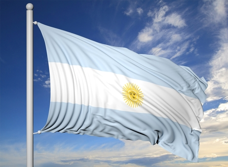 argentina flag: Waving flag of Argentina on flagpole, on blue sky background.