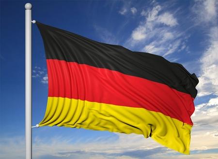 flagpole: Waving flag of Germany on flagpole, on blue sky background.