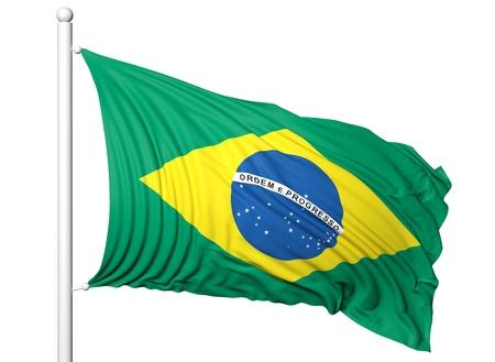 flagpole: Waving flag of Brazil on flagpole, isolated on white backgroun