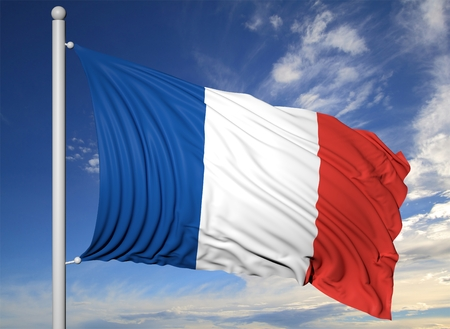 Waving flag of France on flagpole, on blue sky background. Archivio Fotografico