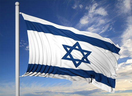 israeli: Waving flag of Israel on flagpole, on blue sky background.