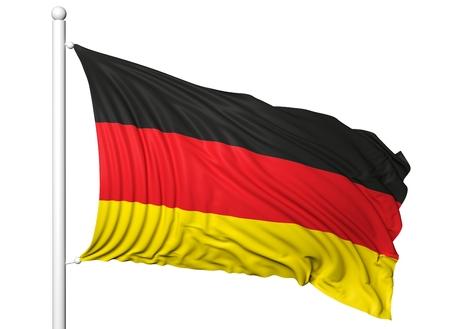 flagpole: Waving flag of Germany on flagpole, isolated on white background. Stock Photo