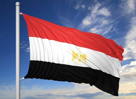 egypt flag: Waving flag of Egypt on flagpole, on blue sky background.