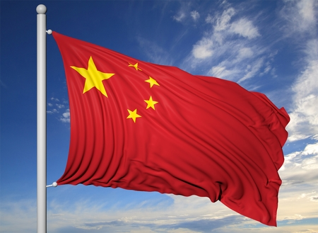 china flag: Waving flag of China on flagpole, on blue sky background.