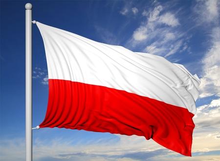 flagpole: Waving flag of Poland on flagpole, on blue sky background.