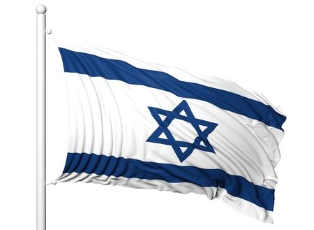 flagpole: Waving flag of Israel on flagpole, isolated on white background.