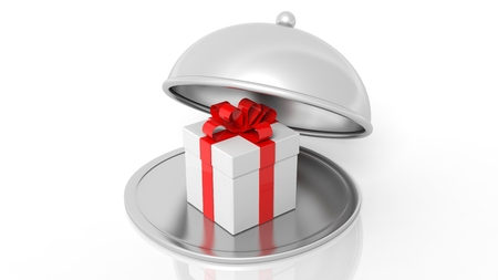 business ideas: Silver restaurant cloche with gift box, isolated on white background. Stock Photo