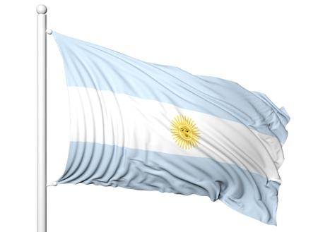 flagpole: Waving flag of Argentina on flagpole, isolated on white background. Stock Photo