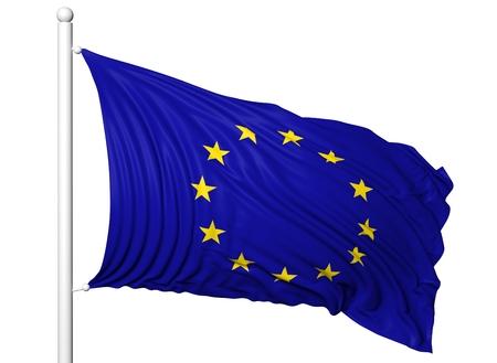 european parliament: Waving flag of European Union on flagpole, isolated on white background.