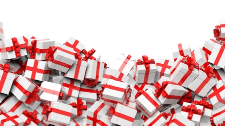 gift ribbon: Background with many white with red ribbon gift boxes with copy-space