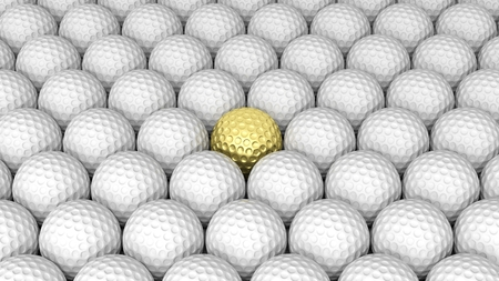 competitions: Golf balls abstract background with one gold in the middle