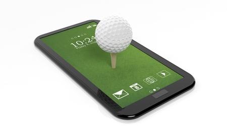 Golfbal op groen tablet scherm, geïsoleerd op een witte achtergrond