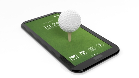 Golf ball on green tablet screen,isolated on white background Foto de archivo