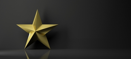 golden star: Golden star icon with reflection,isolated on black background Stock Photo
