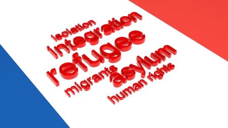 humanism: Bandera de Francia con el texto asociado a la inmigraci�n.