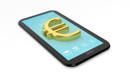 phone isolated: Gold Euro symbol on tablet,isolated on white background