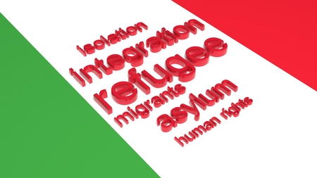 anti social: Flag of Italy with text associated with immigration. Stock Photo