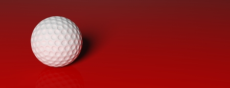 red carpet: Golf ball, isolated on red background Stock Photo