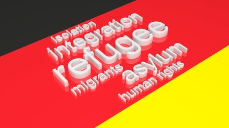humanismo: Bandera de Gremany con el texto asociado a la inmigración.