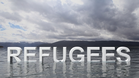 political and social issues: Refugee text emerging from water with mountains and sky in background.