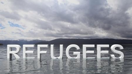 humanismo: Texto Refugiados que emerge del agua con las montañas y el cielo en el fondo.