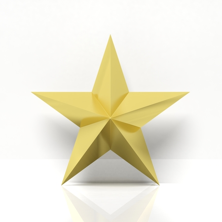 golden star: Golden star icon with reflection,isolated on white background
