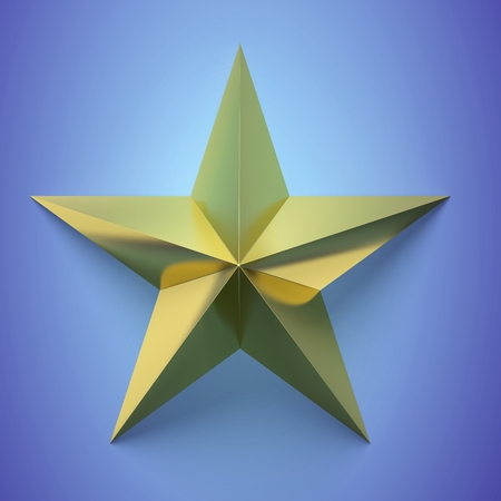 estrellas cinco puntas: Golden star icon,on blue background